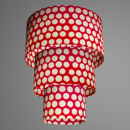 3 Tier Lamp Shade - P84 - Batik Dots on Red, 40cm x 20cm, 30cm x 17.5cm & 20cm x 15cm