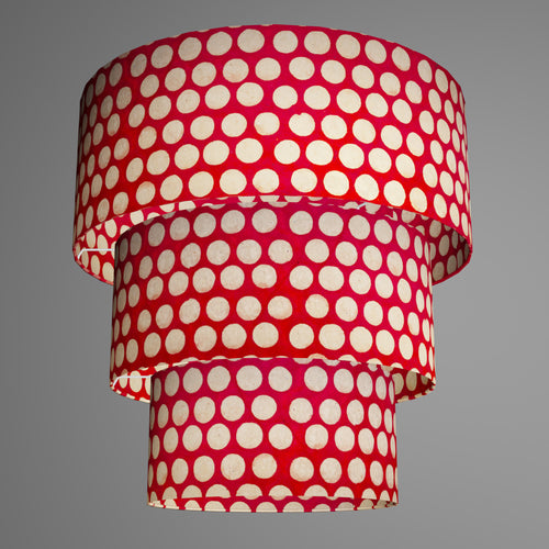 3 Tier Lamp Shade - P84 - Batik Dots on Red, 50cm x 20cm, 40cm x 17.5cm & 30cm x 15cm