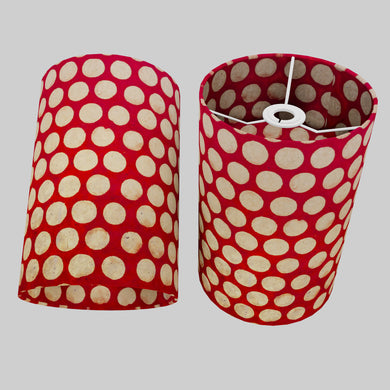 Drum Lamp Shade - P84 ~ Batik Dots on Red, 20cm(d) x 30cm(h)
