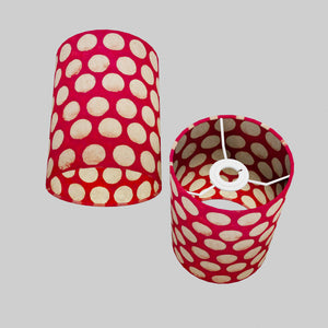 Drum Lamp Shade - P84 ~ Batik Dots on Red, 15cm(d) x 20cm(h)