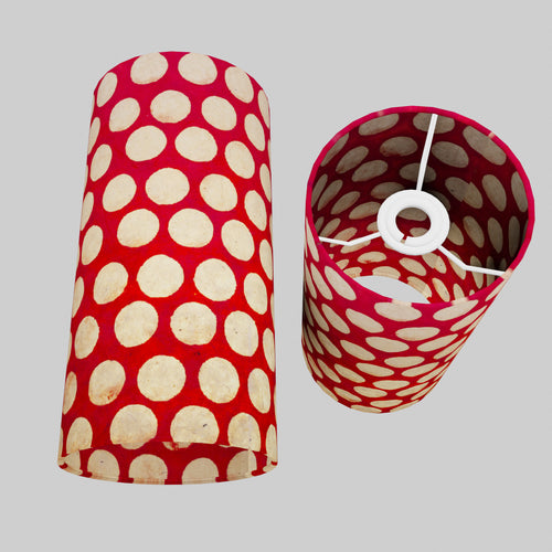 Drum Lamp Shade - P84 ~ Batik Dots on Red, 15cm(d) x 30cm(h)