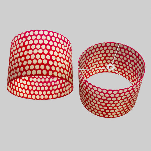 Drum Lamp Shade - P84 - Batik Dots on Red, 40cm(d) x 30cm(h)