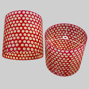 Drum Lamp Shade - P84 ~ Batik Dots on Red, 40cm(d) x 40cm(h)