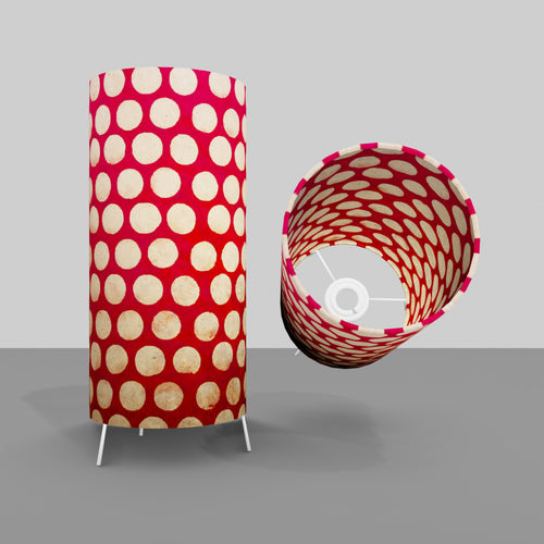 Free Standing Table Lamp Small - P84 ~ Batik Dots on Red