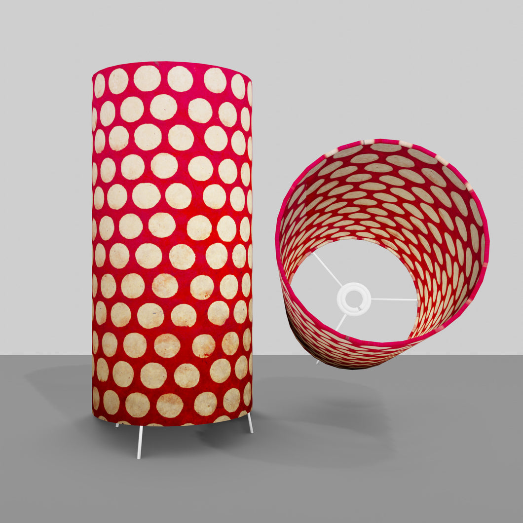 Free Standing Table Lamp Large - P84 ~ Batik Dots on Red