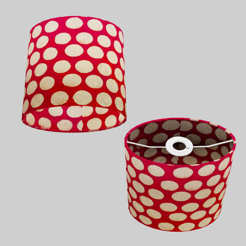 Oval Lamp Shade - P84 ~ Batik Dots on Red, 20cm(w) x 20cm(h) x 13cm(d)