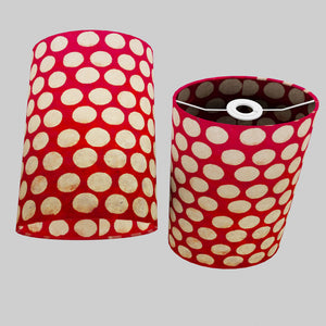 Oval Lamp Shade - P84 ~ Batik Dots on Red, 20cm(w) x 30cm(h) x 13cm(d)