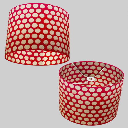 Oval Lamp Shade - P84 ~ Batik Dots on Red, 40cm(w) x 30cm(h) x 30cm(d)