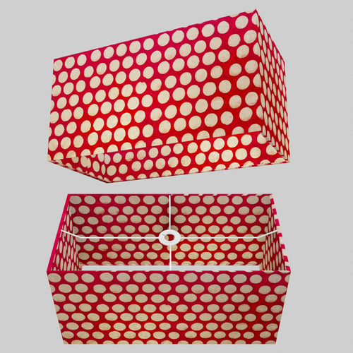 Rectangle Lamp Shade - P84 ~ Batik Dots on Red, 50cm(w) x 25cm(h) x 25cm(d)