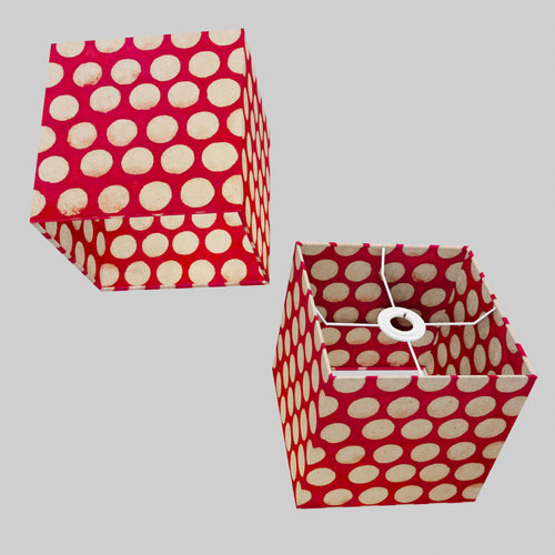Square Lamp Shade - P84 ~ Batik Dots on Red, 20cm(w) x 20cm(h) x 20cm(d)