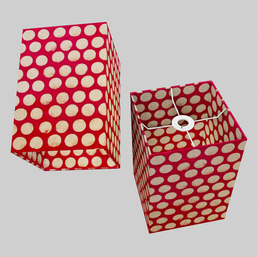 Square Lamp Shade - P84 ~ Batik Dots on Red, 20cm(w) x 30cm(h) x 20cm(d)