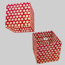 Square Lamp Shade - P84 ~ Batik Dots on Red, 30cm(w) x 30cm(h) x 30cm(d)