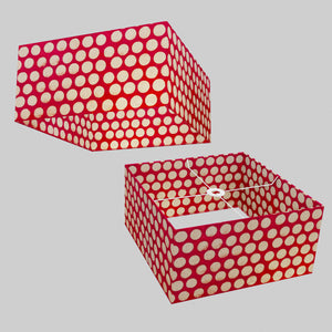 Square Lamp Shade - P84 ~ Batik Dots on Red, 40cm(w) x 20cm(h) x 40cm(d)