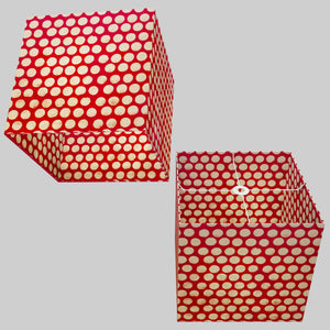 Square Lamp Shade - P84 ~ Batik Dots on Red, 40cm(w) x 40cm(h) x 40cm(d)