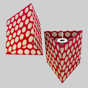 Triangle Lamp Shade - P84 ~ Batik Dots on Red, 20cm(w) x 20cm(h)
