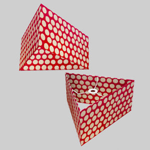 Triangle Lamp Shade  - P84 ~ Batik Dots on Red, 40cm(w) x 20cm(h)