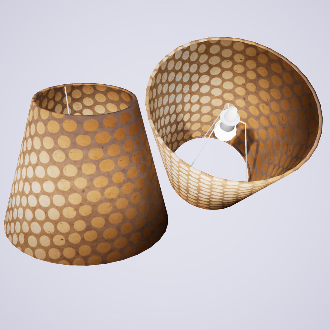 Conical Lamp Shade P85 ~ Batik Dots on Natural, 23cm(top) x 40cm(bottom) x 31cm(height)