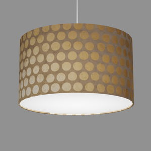 Drum Lamp Shade - P85 ~ Batik Dots on Natural, 35cm(d) x 20cm(h)