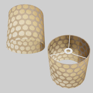 Drum Lamp Shade - P85 ~ Batik Dots on Natural, 25cm x 25cm