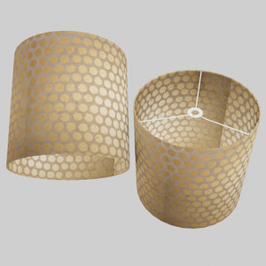 Drum Lamp Shade - P85 ~ Batik Dots on Natural, 40cm(d) x 40cm(h)