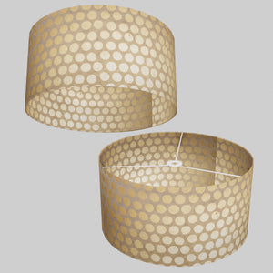 Drum Lamp Shade - P85 ~ Batik Dots on Natural, 50cm(d) x 25cm(h)