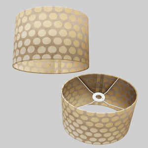 Oval Lamp Shade - P85 ~ Batik Dots on Natural, 30cm(w) x 20cm(h) x 22cm(d)