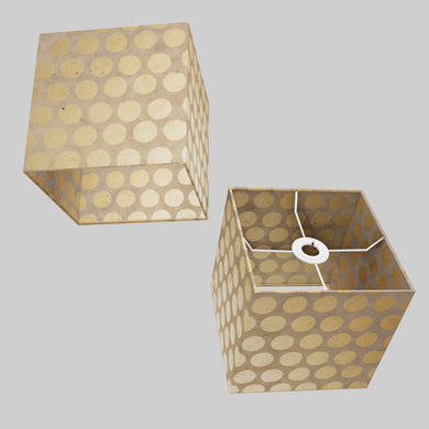 Square Lamp Shade - P85 ~ Batik Dots on Natural, 20cm(w) x 20cm(h) x 20cm(d)
