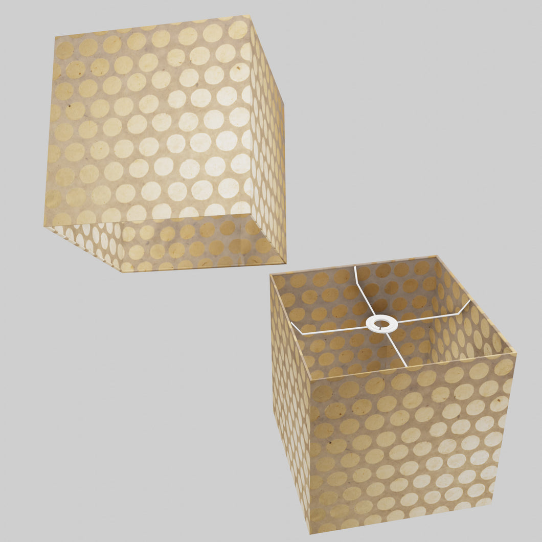 Square Lamp Shade - P85 ~ Batik Dots on Natural, 30cm(w) x 30cm(h) x 30cm(d)