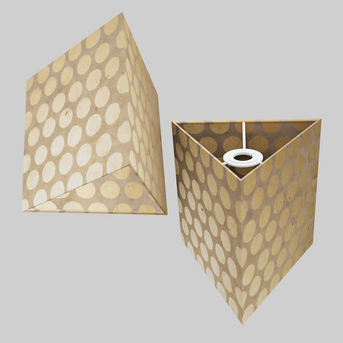 Triangle Lamp Shade - P85 ~ Batik Dots on Natural, 20cm(w) x 20cm(h)