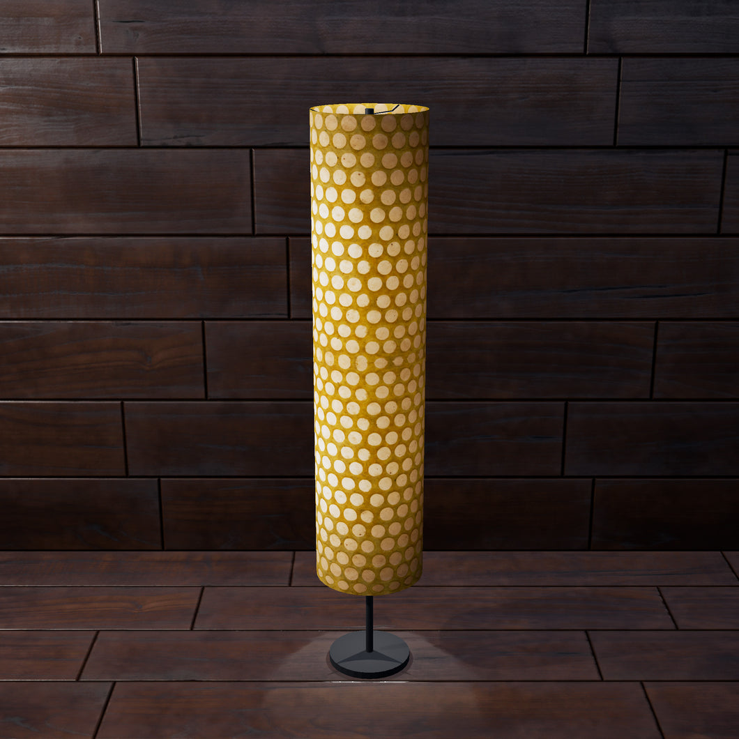 Drum Floor Lamp - P86 ~ Batik Dots on Yellow, 22cm(d) x 114cm(h)