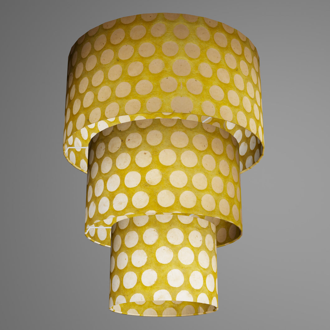3 Tier Lamp Shade - P86 ~ Batik Dots on Yellow, 40cm x 20cm, 30cm x 17.5cm & 20cm x 15cm