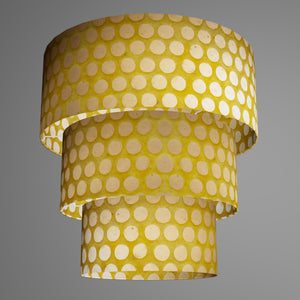 3 Tier Lamp Shade - P86 ~ Batik Dots on Yellow, 50cm x 20cm, 40cm x 17.5cm & 30cm x 15cm