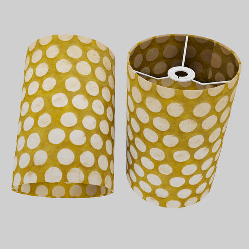 Drum Lamp Shade - P86 ~ Batik Dots on Yellow, 20cm(d) x 30cm(h)