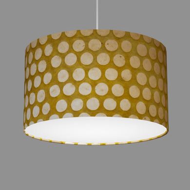 Drum Lamp Shade - P86 ~ Batik Dots on Yellow, 35cm(d) x 20cm(h)
