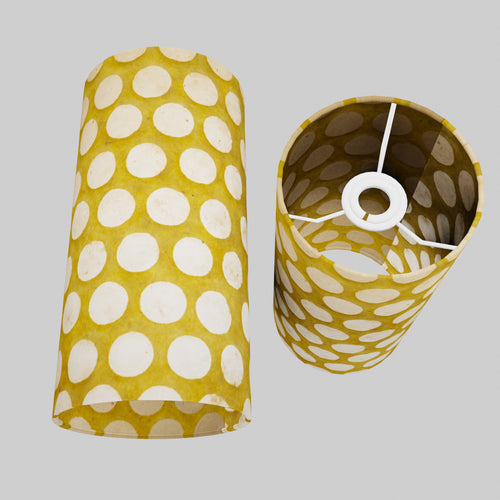 Drum Lamp Shade - P86 ~ Batik Dots on Yellow, 15cm(d) x 30cm(h)