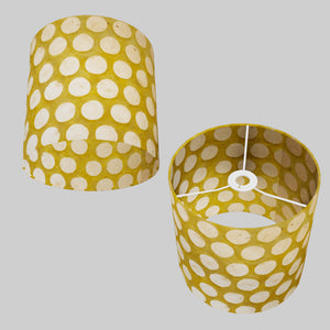 Drum Lamp Shade - P86 ~ Batik Dots on Yellow, 25cm x 25cm