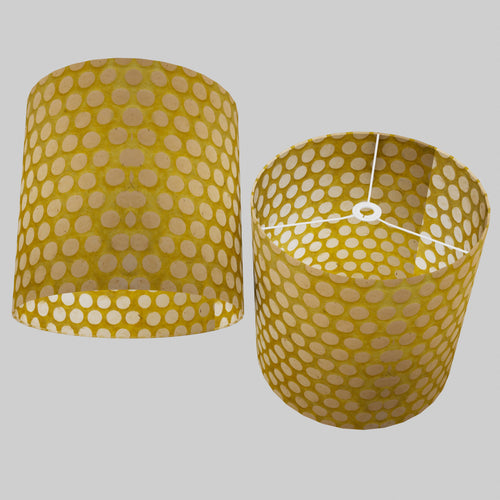 Drum Lamp Shade - P86 ~ Batik Dots on Yellow, 40cm(d) x 40cm(h)