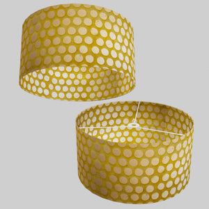 Drum Lamp Shade - P86 ~ Batik Dots on Yellow, 50cm(d) x 25cm(h)