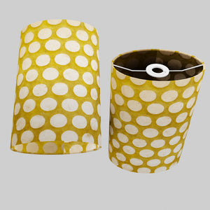 Oval Lamp Shade - P86 ~ Batik Dots on Yellow, 20cm(w) x 30cm(h) x 13cm(d)