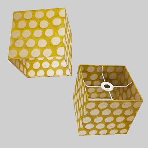 Square Lamp Shade - P86 ~ Batik Dots on Yellow, 20cm(w) x 20cm(h) x 20cm(d)