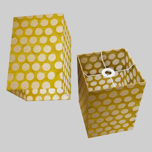 Square Lamp Shade - P86 ~ Batik Dots on Yellow, 20cm(w) x 30cm(h) x 20cm(d)