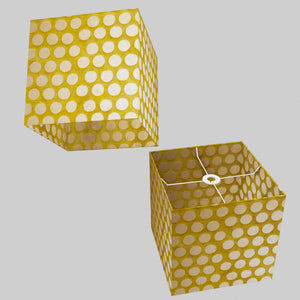 Square Lamp Shade - P86 ~ Batik Dots on Yellow, 30cm(w) x 30cm(h) x 30cm(d)