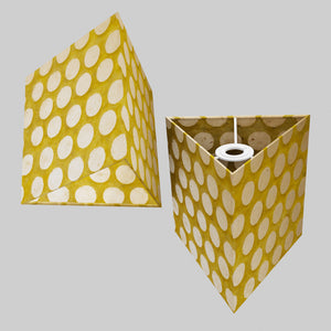 Triangle Lamp Shade - P86 ~ Batik Dots on Yellow, 20cm(w) x 20cm(h)