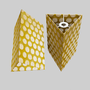 Triangle Lamp Shade - P86 ~ Batik Dots on Yellow, 20cm(w) x 30cm(h)