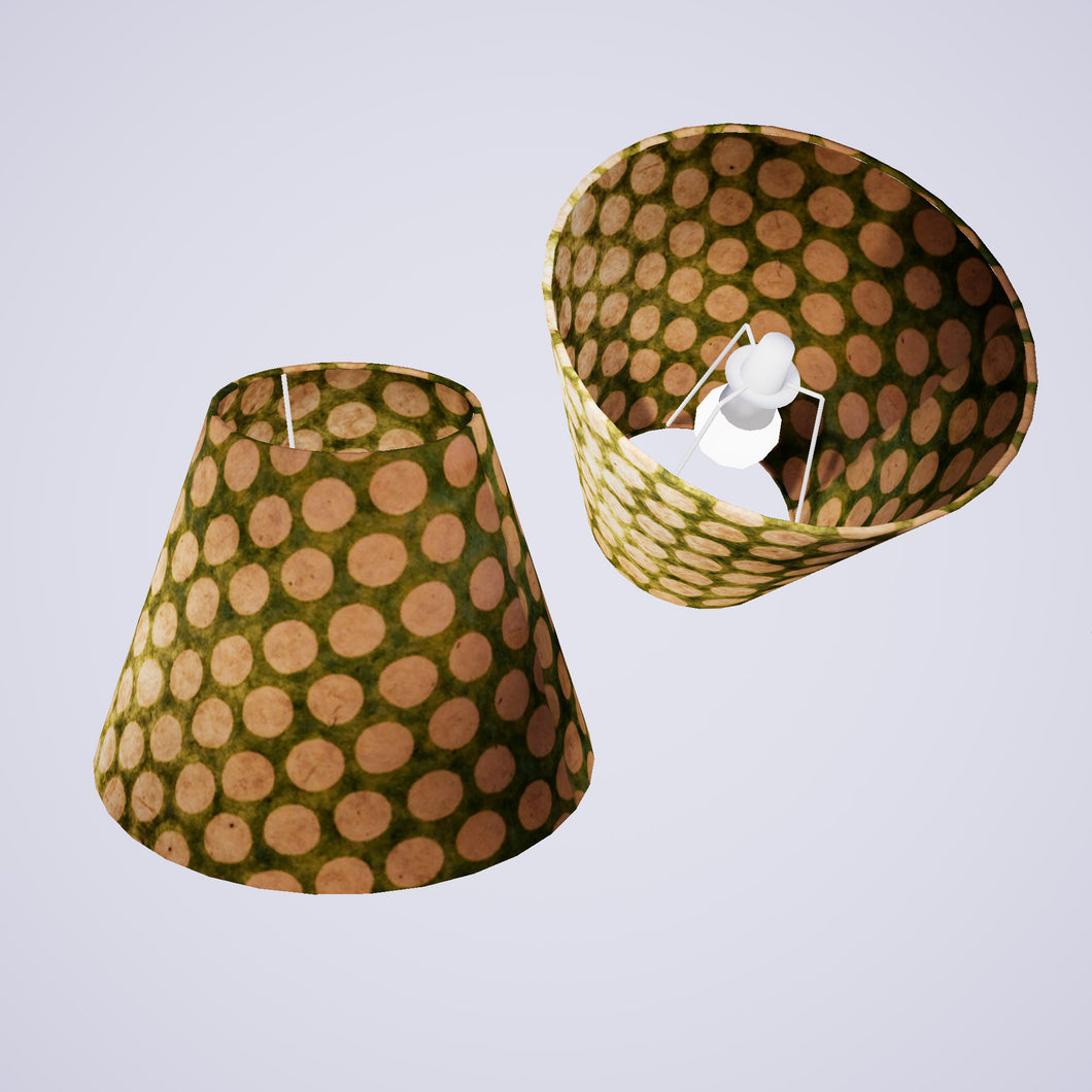 Conical Lamp Shade P87 ~ Batik Dots on Green, 15cm(top) x 30cm(bottom) x 22cm(height)