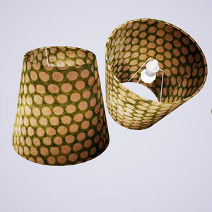 Conical Lamp Shade P87 ~ Batik Dots on Green, 23cm(top) x 35cm(bottom) x 31cm(height)