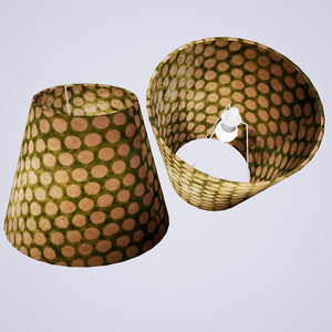 Conical Lamp Shade P87 ~ Batik Dots on Green, 23cm(top) x 40cm(bottom) x 31cm(height)