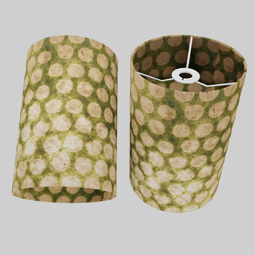 Drum Lamp Shade - P87 ~ Batik Dots on Green, 20cm(d) x 30cm(h)