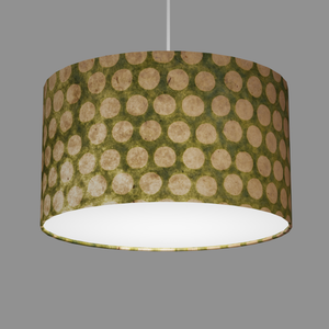 Drum Lamp Shade - P87 ~ Batik Dots on Green, 35cm(d) x 20cm(h)
