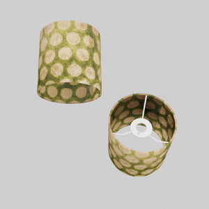 Drum Lamp Shade - P87 ~ Batik Dots on Green, 15cm(d) x 15cm(h)